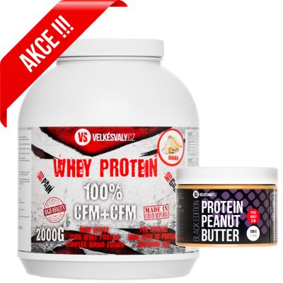 VelkéSvaly.cz - 100% Whey protein 2000g + proteinové máslo