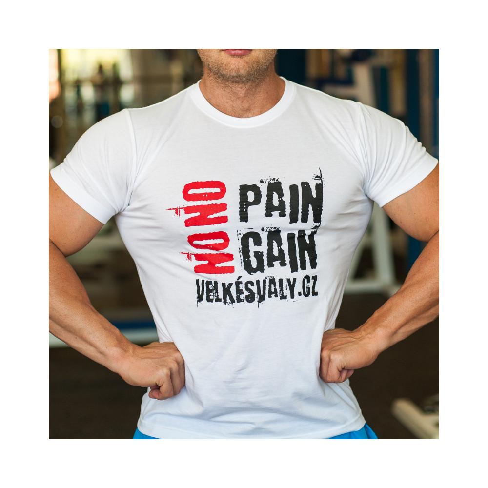 Tričko VelkéSvaly.cz - No Pain No Gain bílé
